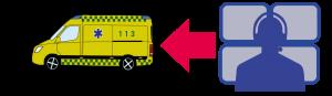illustration af ambulance og operatør