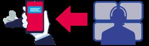 illustration af mobiltelefon og operatør